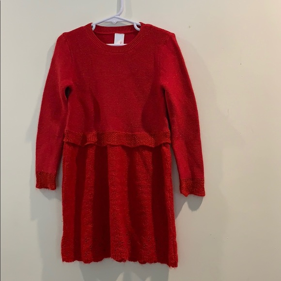 Girls Red Long Sleeve Holiday Dress
